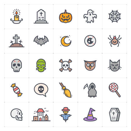 Icon set - Halloween icon outline stroke with color vector illustration on white background