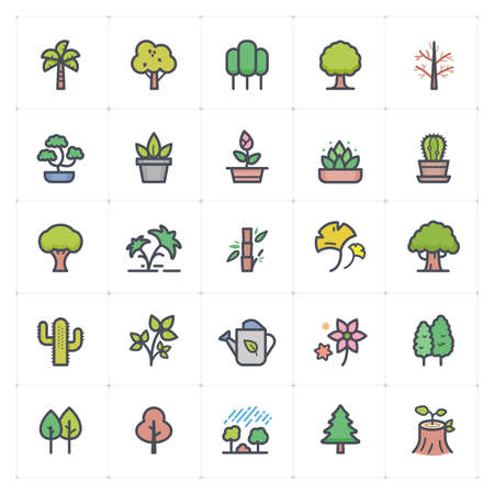 Icon set - Tree and Natural icon outline stroke with color vector illustration on white background