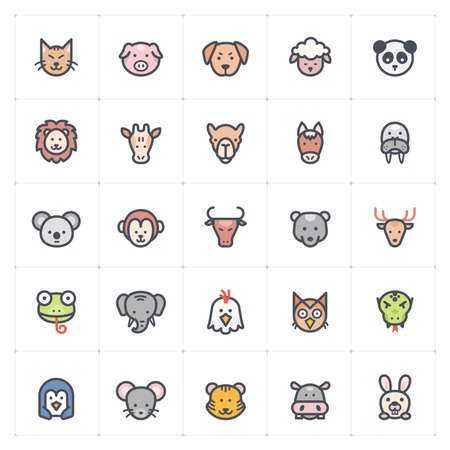 Icon set - Animal icon outline stroke with color vector illustration on white background Çizim