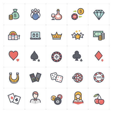 Icon set - Casino and Gambling icon outline stroke with color vector illustration on white background Çizim