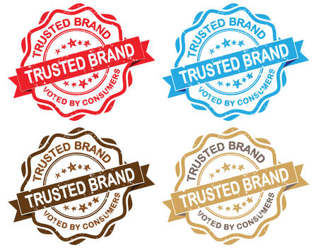 voted: Trusted brand. Voted by consumers - grunge retro set of isolated ribbon stamps. Print colors used. Illustration