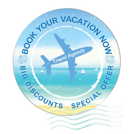 cartooned: Book your vacation now - Big Discounts, Special Offer - travel agency label, also for print. Advertising for travel agencies  Hotels. Contains a cartooned sun and a beach umbrella.