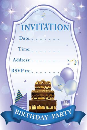 Invitation pour Birthday Party. Couleurs d'impression utilisées. Contient gâteau d'anniversaire, ballons, cadeaux.