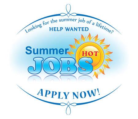 夏の仕事は、印刷用ステッカーを提供しています。協力者募集。今すぐ入会します。季節従業員を探している企業の雇用者のためのラベル。パート  イラスト・ベクター素材
