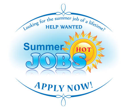 Summer jobs offer sticker for print. Help wanted. Apply now! Label for companies  Employers that are looking for seasonal employees. Advertising for part time and full time jobs. Print colors used.