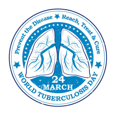 alertness: World Tuberculosis day label. 24th March worlds tuberculosis day- blue grunge label. Prevent the disease, reach, treat and cure. Print colors used Illustration