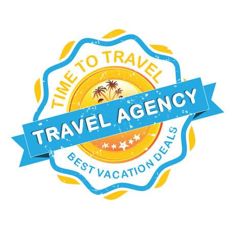 agencia de viajes de la etiqueta grunge. Tiempo para viajar. Imprimir colores utilizados.