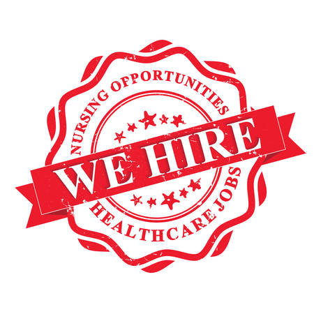 employment issues: Nursing jobs . We hire - Healthcare jobs - red grunge label. Print colors used