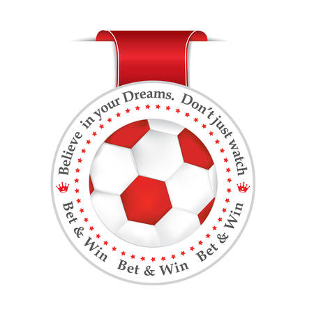 bet: Bet and win red ribbon label with a football. Print colors. Illustration