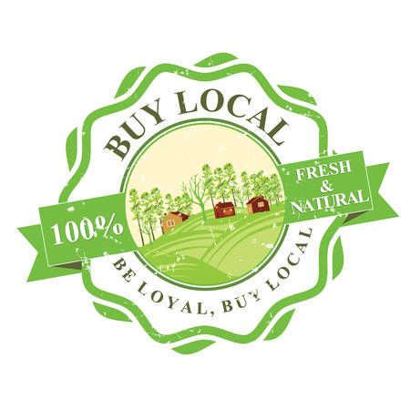 uncooked: Buy Local grunge label. Farm Fresh. 100 Natural. Organic Food label. Print colors used