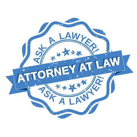 attorney: Attorney at law - grunge blue label. Ask a Lawyer grunge blue stamp  sticker  label. Print colors used