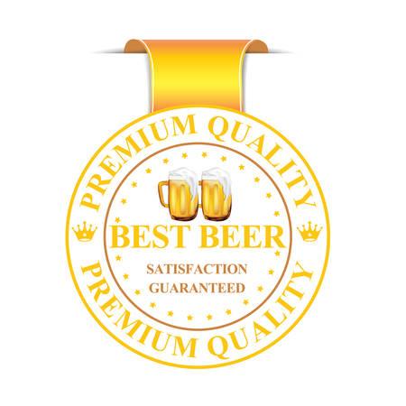 satisfaction guaranteed: Best Beer ribbon label. Premium Quality. Best Beer - ribbon label with beer mugs. Satisfaction Guaranteed. Illustration
