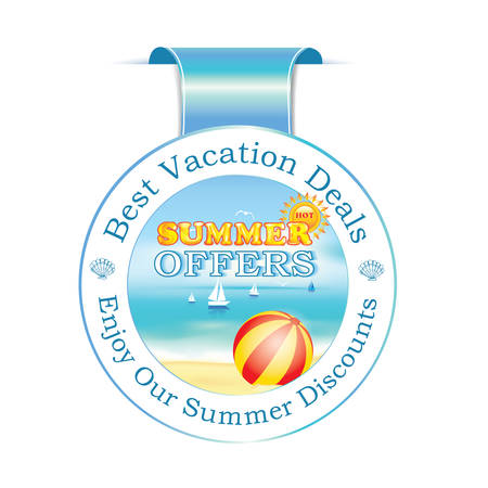 agency agreement: Summer offers ribbon. Best Vacation Deals label with summer seaside background: ships,beach ball, beach. Illustration