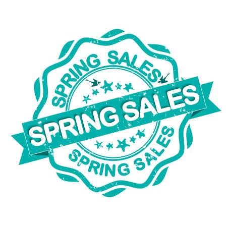 markdown: Spring Sales grunge stamp  label  with birds. Print colors used. Illustration