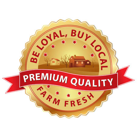 buy local: Buy Local label with ribbon. Fresh Farm, Buy Local, be loyal stamp with a farm in background. Print colors used.