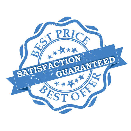 satisfaction guaranteed: Best Price. Best Offer. Satisfaction Guaranteed grunge blue label. Print colors used Illustration