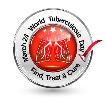 fighting cancer: March 24 - world tuberculosis day. Find, Treat and Cure - glossy shiny web icon  button Illustration