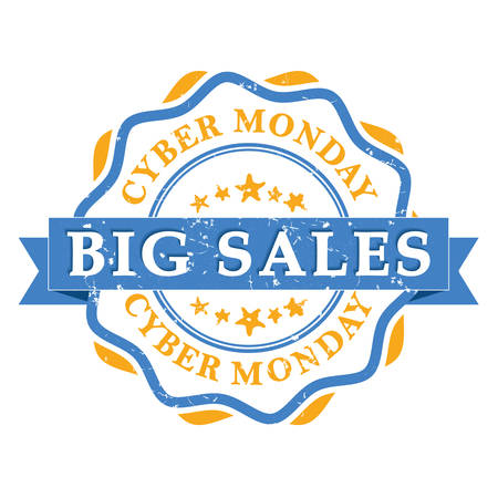bargains: Cyber Monday big sales bi-color grunge label. Print colors used. Illustration
