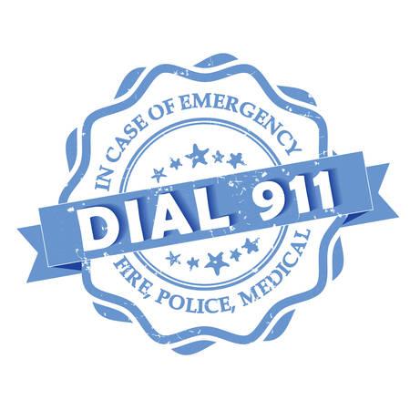 emergency case: Dial 911 - blue grunge label. Fire, Police, Medical - In case of Emergency, dial 911. Grunge blue stamp. Illustration