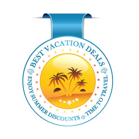 sales promotion: Summer vacation deals. Summer holidays discounts - ribbon advertising with palm trees and shells,  for  travel agencies, hotels, etc. Print colors used.