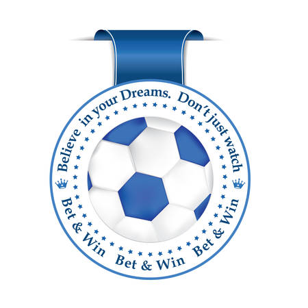 bet: Bet and win blue ribbon label with a football. Print colors.