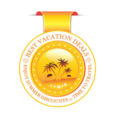 travel agencies: Enjoy our summer discounts. Best Vacation deals. - ribbon with seaside landscape for travel agencies, hotels, motels.