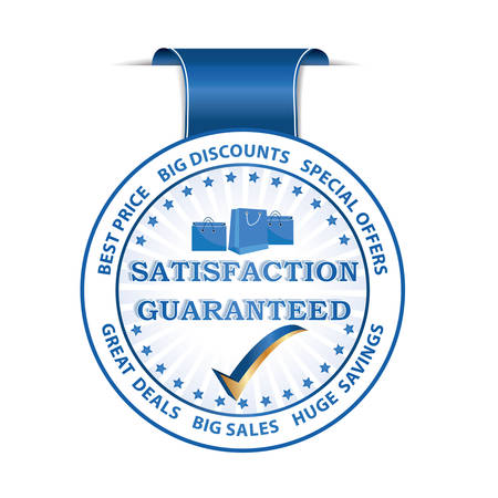 selling service: Satisfaction Guaranteed. Best Price. Big Discounts Huge Savings blue ribbon  label with shopping bags. Print colors used