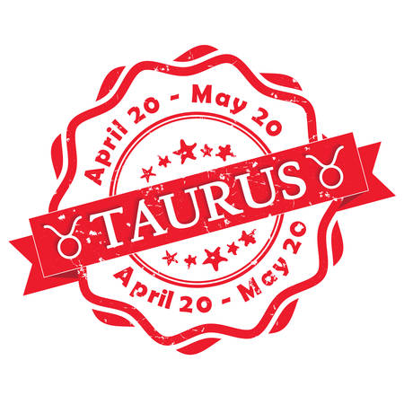 forecasting: Taurus (Bull) zodiac sign grunge red ribbon, also for print. Contains also the Dates of Birth. Illustration