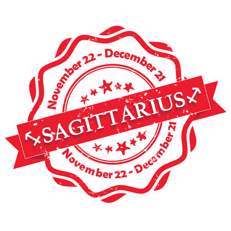 printout: Sagittarius (Archer) zodiac sign grunge red ribbon, also for print. Contains also the Dates of Birth.