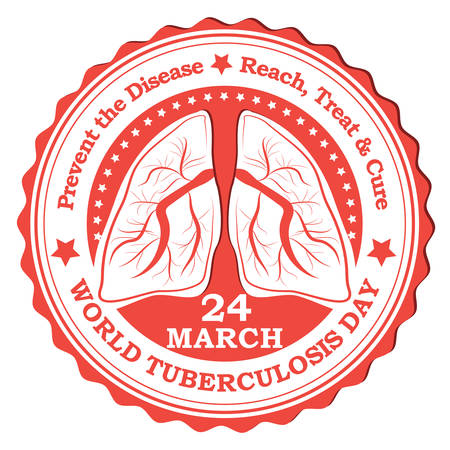 fighting cancer: Tuberculosis red label  stamp. Print colors used.