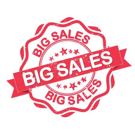 big sales: Big Sales. Red grunge stamp. Print colors used Illustration