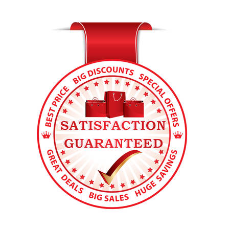 satisfaction guaranteed: Satisfaction Guaranteed.  Big Discounts. Best Price. Huge Savings red ribbon  label with shopping bags. Print colors used Illustration