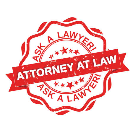 trials: Ask a Lawyer! Attorney at law!  red grunge label. Print colors used.