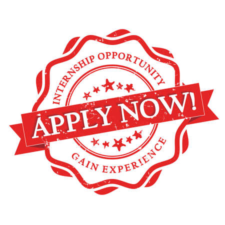 Apply for Internship -  gain experience -  red grunge label with ribbon on white background. Stamp for Internship recruitment. Zdjęcie Seryjne