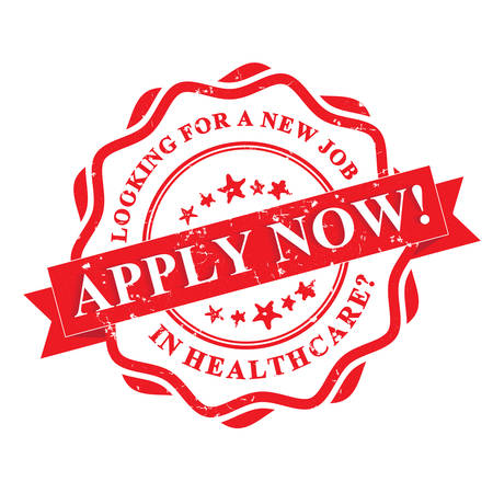 opportunity sign: Apply Now!  Healthcare jobs available. - red grunge label. Print colors used. Illustration