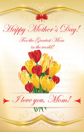 mothersday: Happy Mothers Day greeting card with tulips and crocuses flowers. Print colors used.