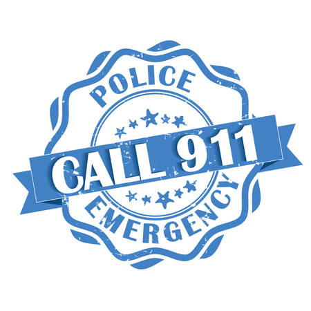 printout: Call 911 Police emergency - blue grunge label. Print colors used Illustration