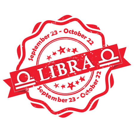 printout: Libra zodiac sign grunge red ribbon, also for print. Contains also the Dates of Birth.