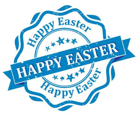 printout: Happy Easter! - blue grunge label. Print colors used Illustration