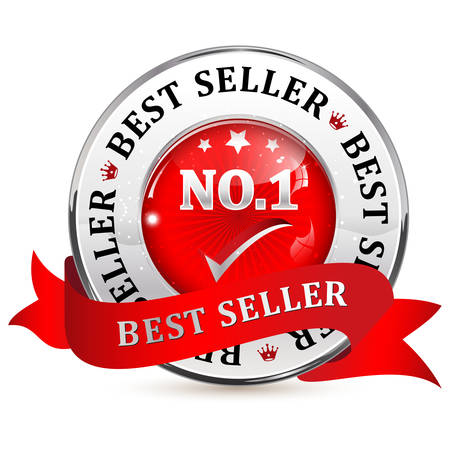 shiny icon: Best seller No.1 metallic red glossy shiny icon  button with ribbon.