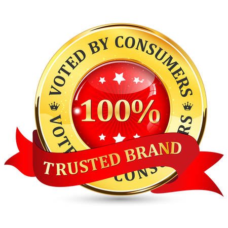 voted: Trusted Brand. Voted by consumers - shiny glossy icon  button with ribbon. Illustration