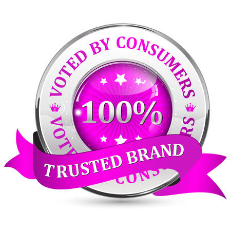 shiny icon: Trusted brand. Voted by consumers. - pink metallic glossy shiny icon  button with ribbon. Illustration