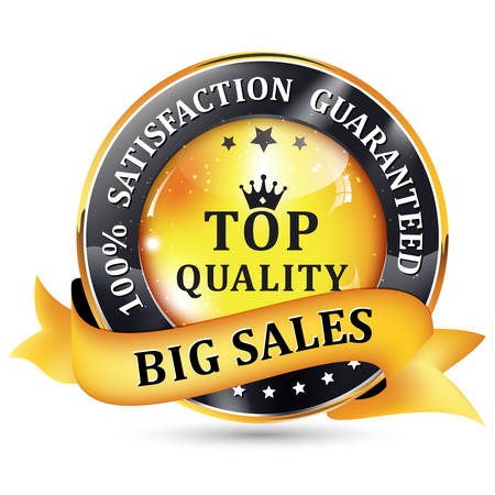 shiny icon: Big Sales. Satisfaction guaranteed. Top Quality. Black Yellow glossy shiny icon  button with ribbon. Illustration