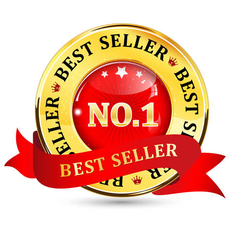 shiny icon: Best seller No.1 golden red glossy shiny icon  button with ribbon. Illustration