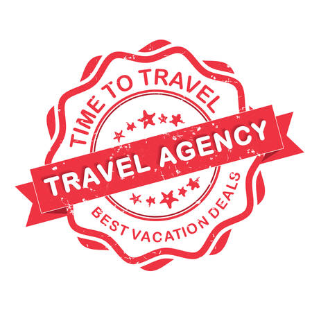 travel agency: Travel agency grunge label. Time to travel. Best vacation deals. Print colors used. Illustration