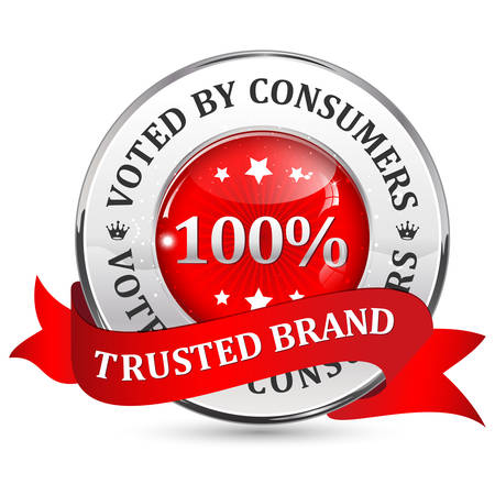 voted: Trusted brand. Voted by consumers. - red glossy shiny icon  button with ribbon. Illustration