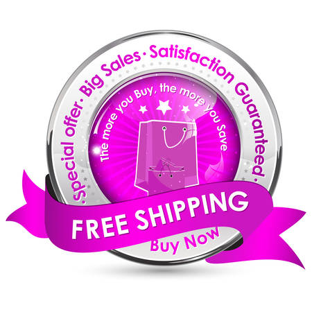 satisfaction guaranteed: Free Shipping. Special Offer, Big Sales, Satisfaction Guaranteed - shiny glossy icon  label with ribbon. Illustration