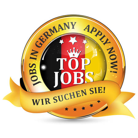 flak: Jobs in Germany. German text: We want you! - shiny elegant ribbon with Germany flak on the background.