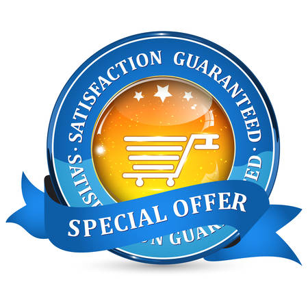 satisfaction guaranteed: Special Offer. 100 % Satisfaction Guaranteed. - orange blue ribbon. Add to cart sign Illustration