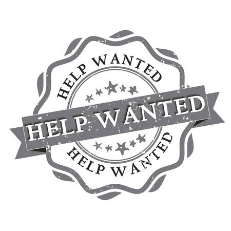 opportunity sign: Help Wanted grunge label. Print colors used
